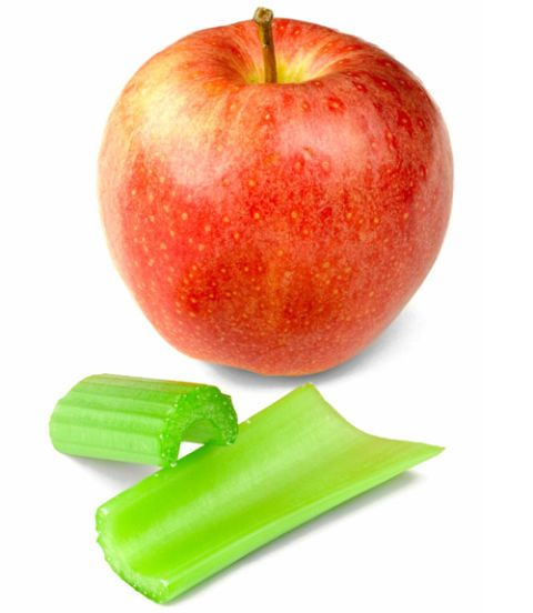 red apple and celery