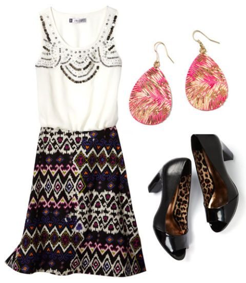 jaclyn smith tribal print linen skirt
