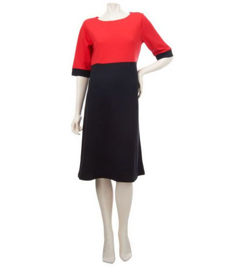 qvc red and black colorblock dress