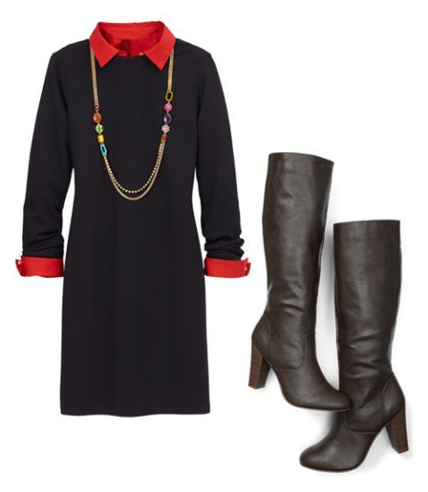 black dress with red shirt and boots