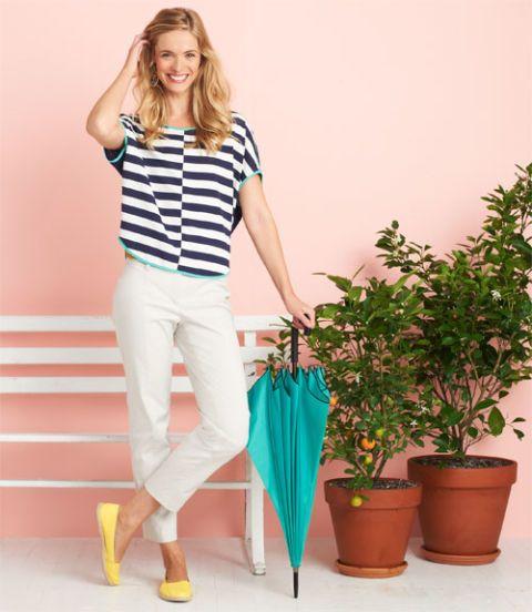 woman wearing modern stripes