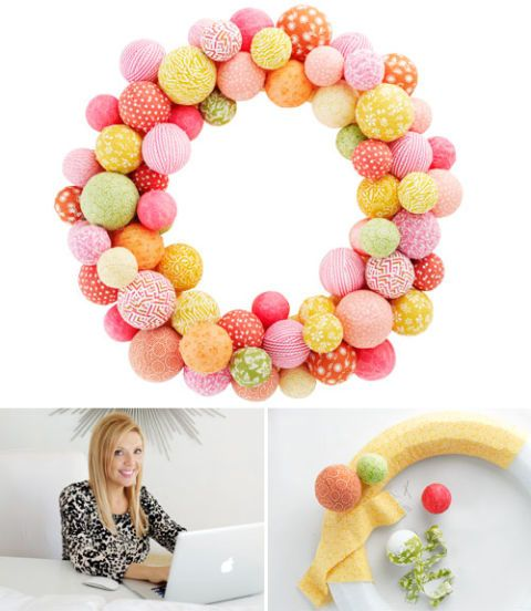 fabric ball wreath