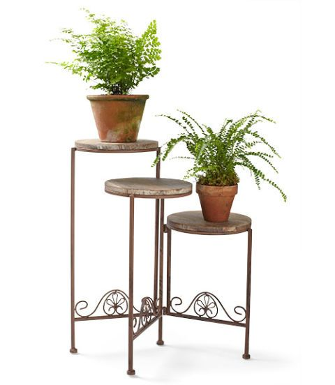 gifts and decor rustic finish triple plant stand