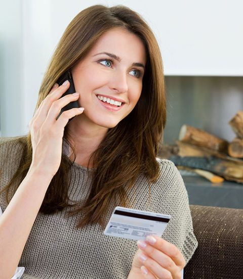 woman ordering catalog phone