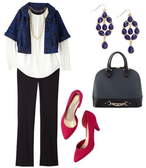 black pants with a blue blazer