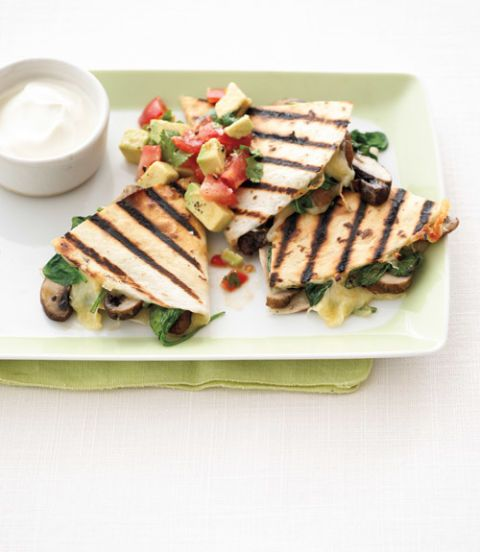 Grilled Mushroom & Spinach Quesadillas