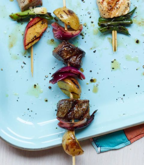 Beef, Potato & Red Onion Kebabs