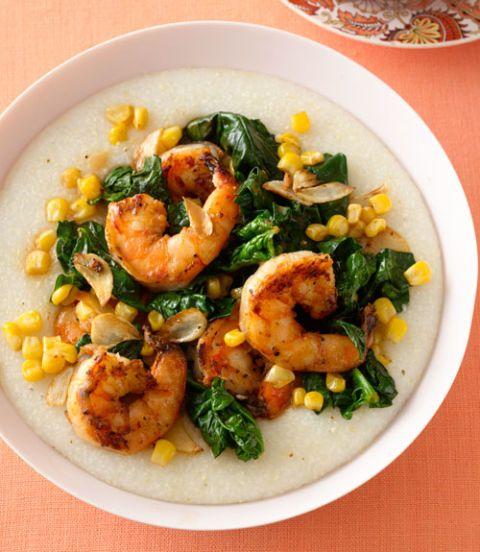 Cajun Shrimp, Spinach & Grits