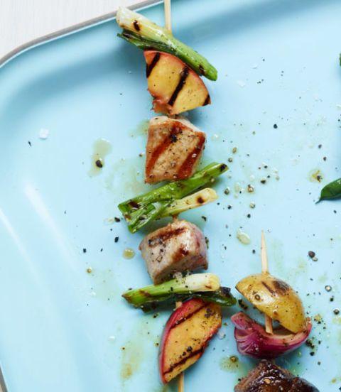 Pork, Nectarine & Scallion Kebabs