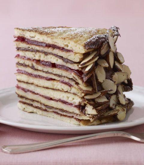 Chocolate-Cranberry Pancake Cake