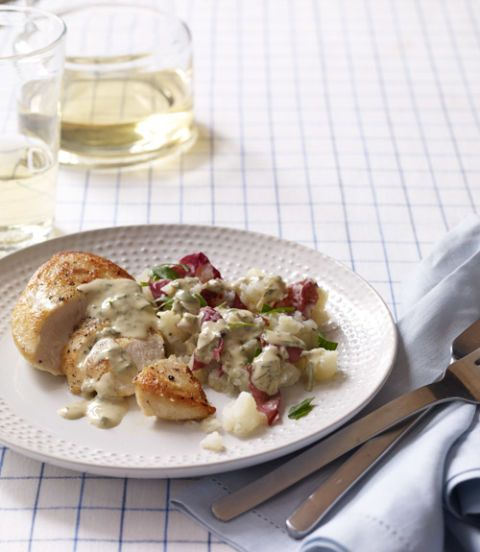 Seared Chicken with Smashed Potatoes & Herbed Pan Sauce