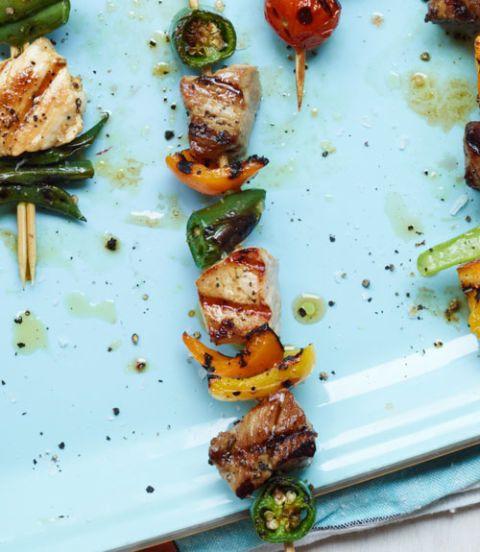 Pork, Yellow Pepper & Jalapeño Kebabs