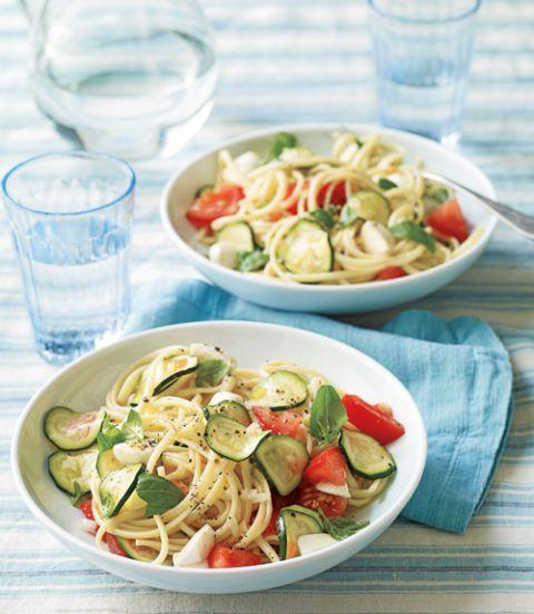 Linguine With No-Cook Tomato & Zucchini Sauce