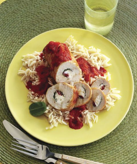 turkey cheese roll ups with red pepper sauce