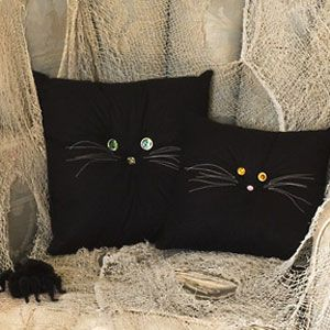 Halloween Crafts -  Black Cat Pillows