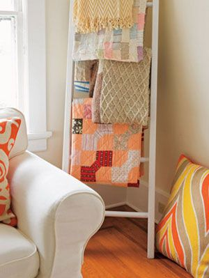 Craft Ideas For Storing Quilts At Womansday Com Ladder