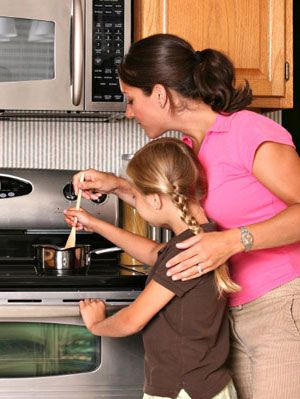Mom with kids cooking in kitchen
