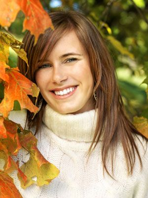 woman enjoying fall