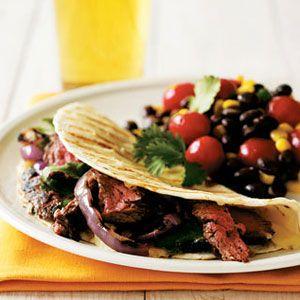 Skirt-Steak-and-Onion-Quesadillas-with-Black-Bean-Salad