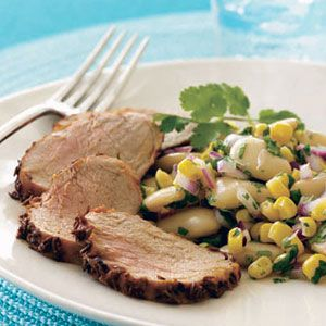 Cumin-Crusted-Pork-Tenderloin-With-Bean-and-Corn-Salad