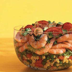 Layered-Shrimp-Corn-and-Pea-Salad-Recipe