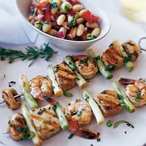 Seafood Kebabs with Bean and Tomato Salad
