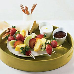 Fruit Kebabs with Two Sauces