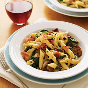Penne-with-Bacon-Spinach-Mushrooms