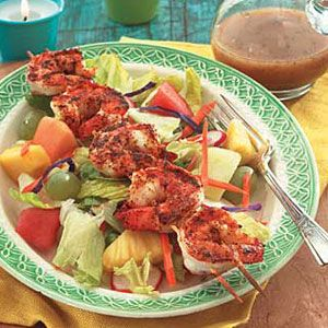 Salad-with-Fruit-Broiled-Shrimp
