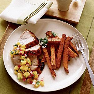 Pork-with-Pineapple-BBQ-Salsa-and-Sweet-Potatoes