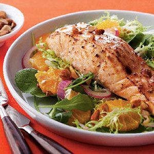 Glazed-Salmon-on-Greens-and-Orange-Salad