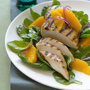 Orange-Chicken-with-Wilted-Spinach-Salad-Recipe