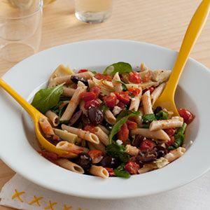 Mediterranean-Pasta-with-Tomatoes-Arugula-Recipe