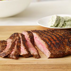 Grilled-Flank-Steaks-with-Herb-Butter-Recipe
