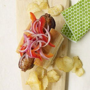 Grilled-Sausages-with-Marinated-Peppers-and-Onions-Recipe