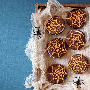 halloween cookies - chocolate spiderweb sandwich cookies