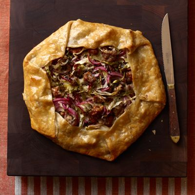 Sausage, Cabbage and Red Onion Galette