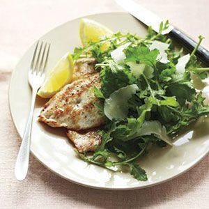 Chicken-Cutlets-with-Lemony-Arugula-Salad-Recipe