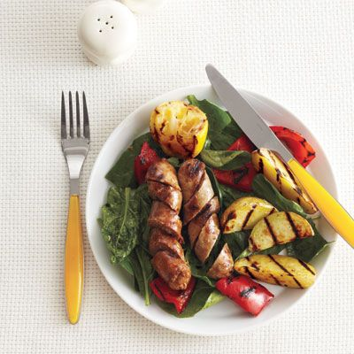 Grilled Sausage with Potatoes, Red Peppers and Spinach