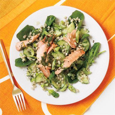 herb roasted salmon and barley salad
