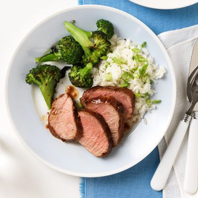 barbecued pork with broccoli and scallion rice