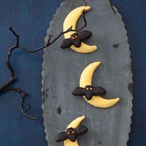 halloween desserts - bats flying across the moon cookies