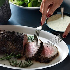 Roasted Herb Fillet Of Beef With Horseradish Sauce