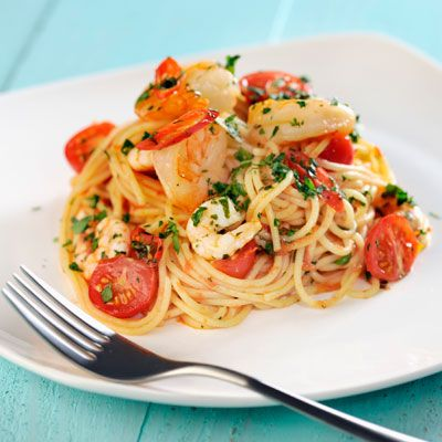 Roasted Shrimp with Garlicky Tomatoes and Spaghetti Recipe