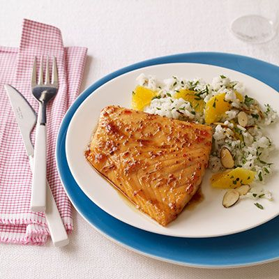 sweet and tangy glazed salmon with orange almond rice