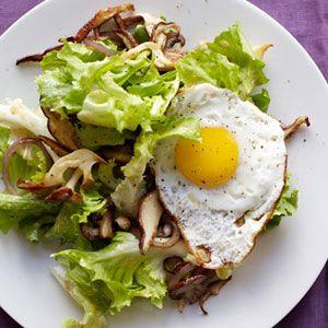 escarole, red onion, mushroom, and egg salad