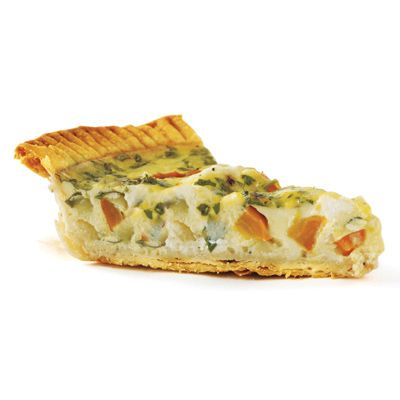 """<p>This Mediterranean-inspired quiche is colorful and takes just 15 minutes to prep. For a more Mexican feel, swap the bell pepper with poblanos and use Monterey Jack cheese instead of feta.</p> <p><strong><a target=""""_blank"""" href=""""http://www.womansday.com/recipefinder/onion-pepper-feta-quiche-recipe-122919?click=rec_sr"""">Get the recipe.</a></strong></p>"""