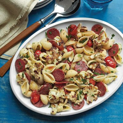 pasta with roasted cauliflower tomatoes and pepperoni