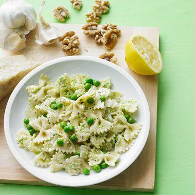 pasta with walnut pesto and peas