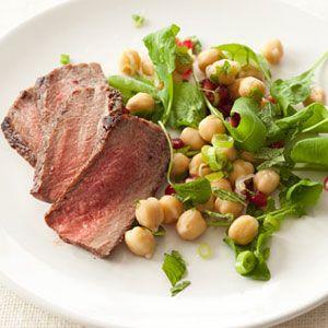 Steak-with-Chickpea-Pomegranate-Arugula-Salad-Recipe